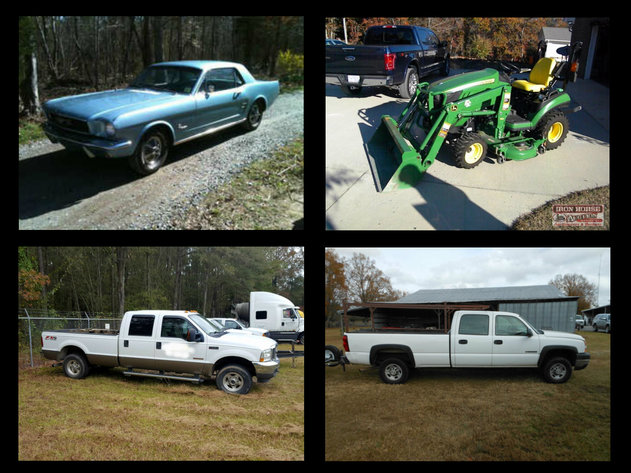 66' Ford Mustang, John Deere Tractor, Concrete Trucks, Pick Up Trucks. Trailers, Golf Cart, Tools and Much More