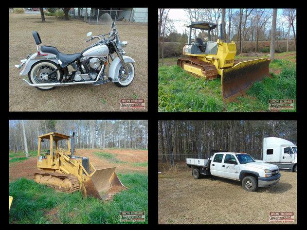 Komatsu D41E-6, CAT Track Loader, Dump Truck, Freightliner Truck, Harley Davidson, 30' Boat, Bluebird School Bus, Pickup Trucks and Much More!