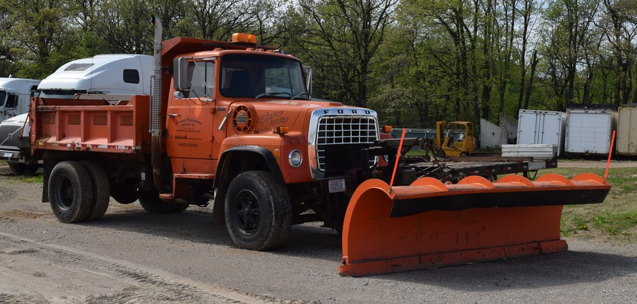 Ford Dump Truck With Plow, Mowers, Flatbed Trailer