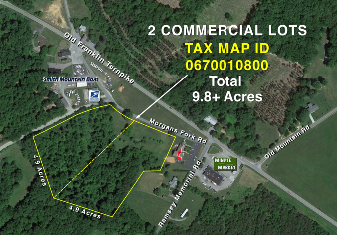 Two 4.9 +/-  Acre Commercial Parcels Minutes from Smith Mountain Lake--Selling to the Highest Bidder!