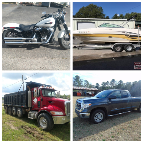 2018 Harley Davidson, Dump Trucks, Pickup Trucks, Trailers, Tools, Tractors, and Much More