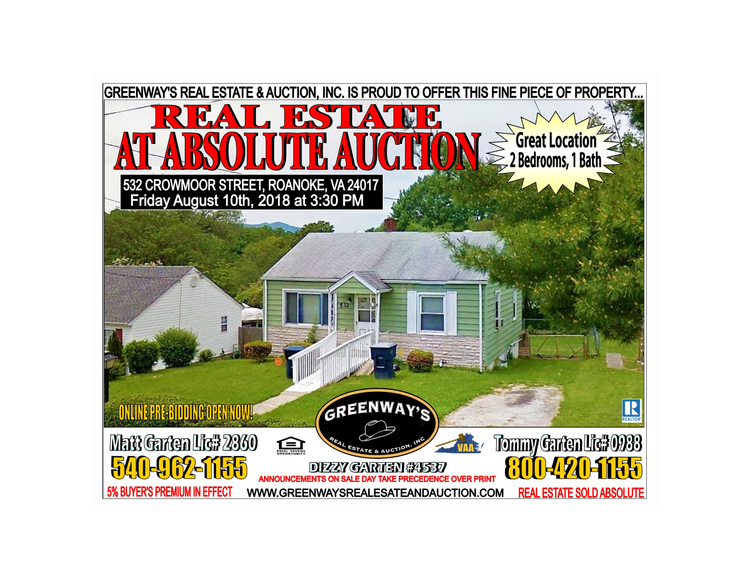 ABSOLUTE AUCTION 2 Bed 1 Bath Roanoke VA Greenway S