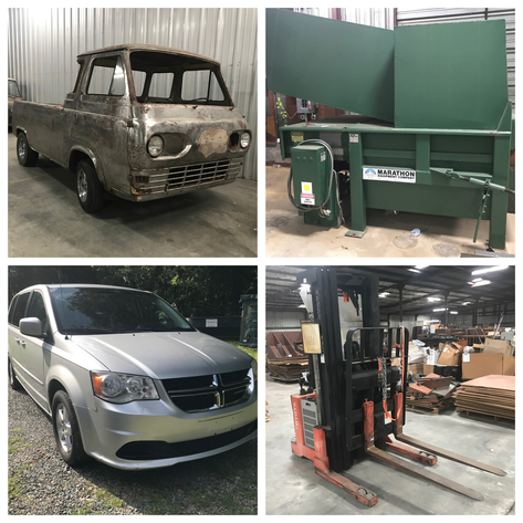 Cars & Trucks, Racking, Merchandise Displays, Gun Counters, Compactors, Lifts, Furniture and Retail Hunting and Fishing Signs