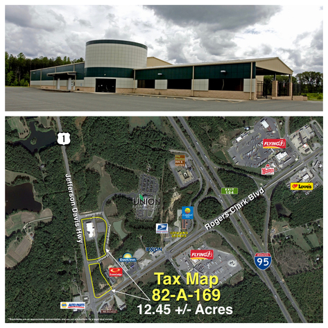 29,000 +/- sf. Industrial/Commercial Building on 12.45 +/- Acres--Fronting Rts 1 & 207 and less than 1 mile from I-95 Exit!!