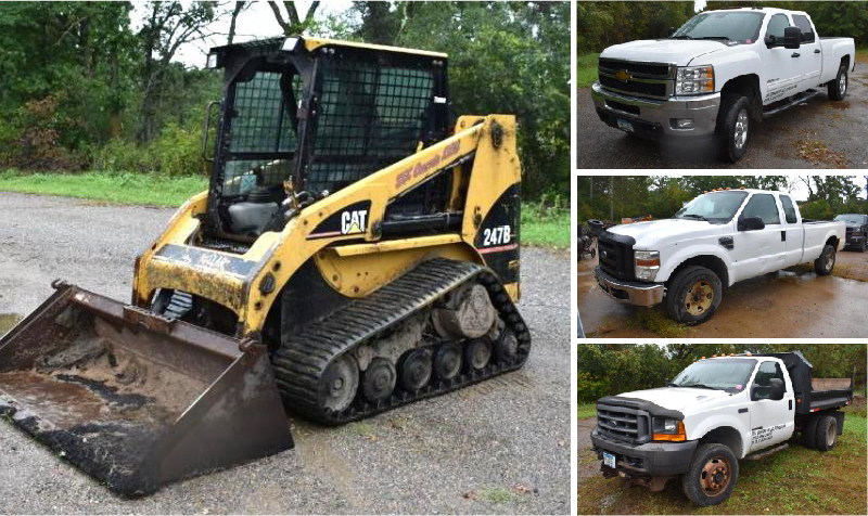 Concrete & Masonry Equipment: Skid Steer, (2) Dump Trucks, (2) Pickups and More