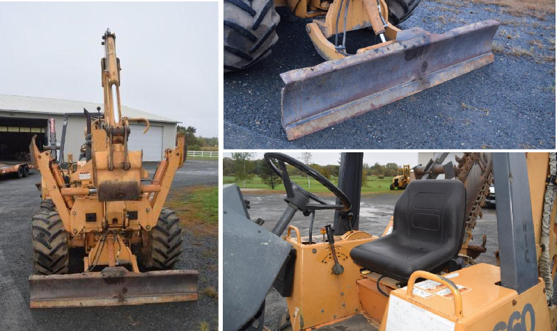 Case 660 4-Wheel Steer Trencher & 1998 Butler Trailer