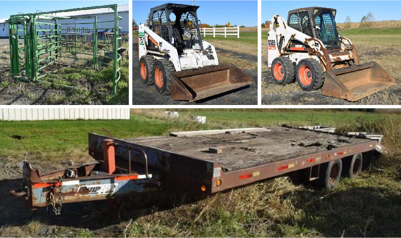 Skid Loaders, Attachments, Cattle and Farm Equipment