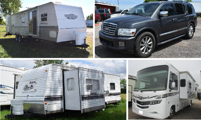 (7) Motorhomes, (6) Campers, (3) Vehicles and (2) Trailers