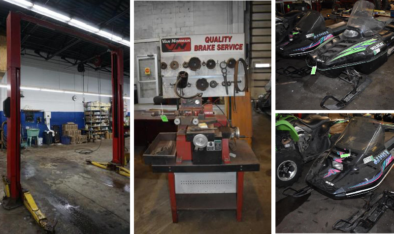 Automotive Repair Shop Equipment, (2) Arctic Cat Snowmobiles & Arctic Cat 450 XC EFI ATV