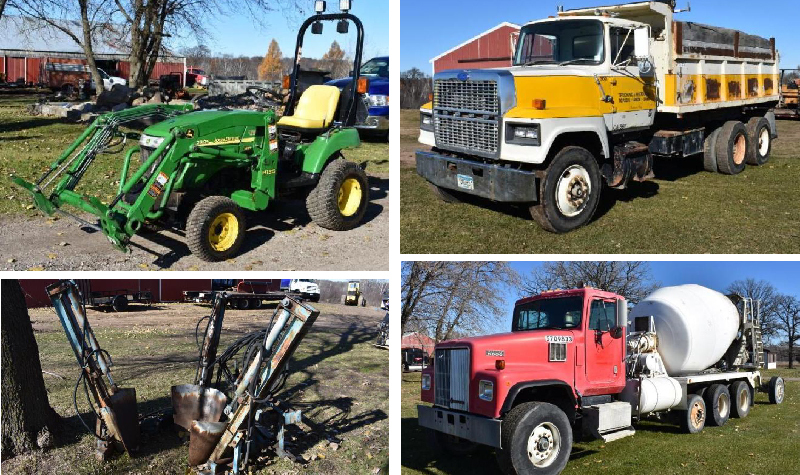 John Deere 2305 With Attachments, Dump Truck, 1998 Cement Truck, & More