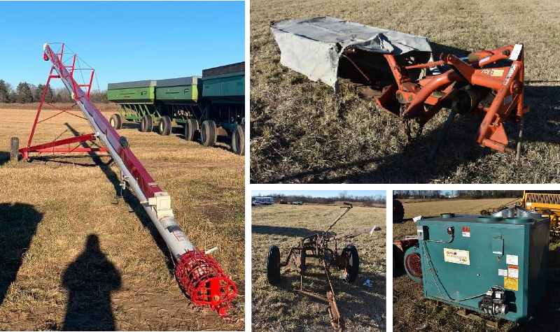 Farm Equipment: International 986 Tractor, New Grain Augers, Gravity Boxes