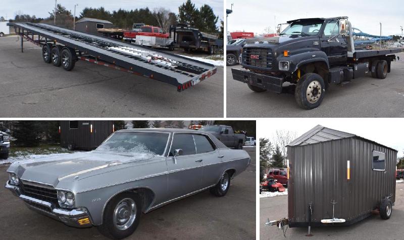 Wood Processor, Trailers, Collector Car & Shop Tools
