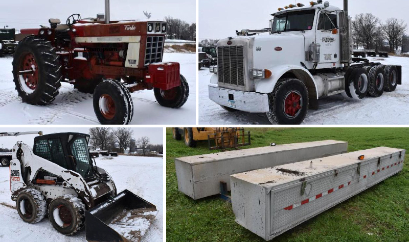 1990 Peterbilt 357, S205 Bobcat, Utility Box With Crane, International 1066 and S205 Bobcat Parts