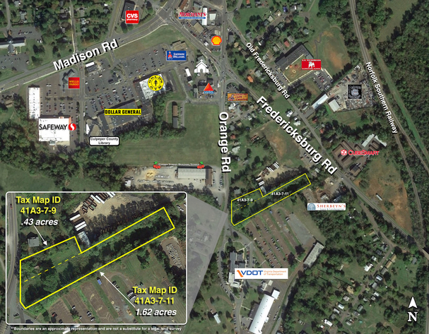 2.05 +/- Acres of Commercial Property Fronting Rt. 15 Business w/1,150' +/- of Road Frontage in Culpeper County, VA--Sells to the Highest Bidder!!