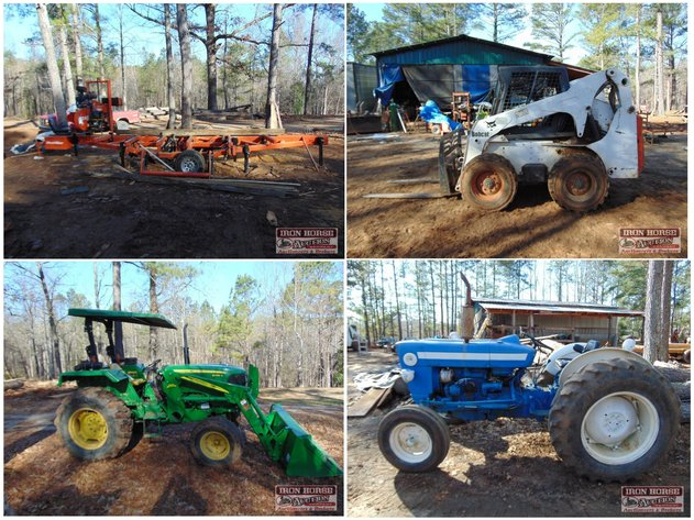 John Deere 5045D Tractor, Bobcat Skid Steer, Wood Mizer Saw Mill, Tools, Trailers and Attachment
