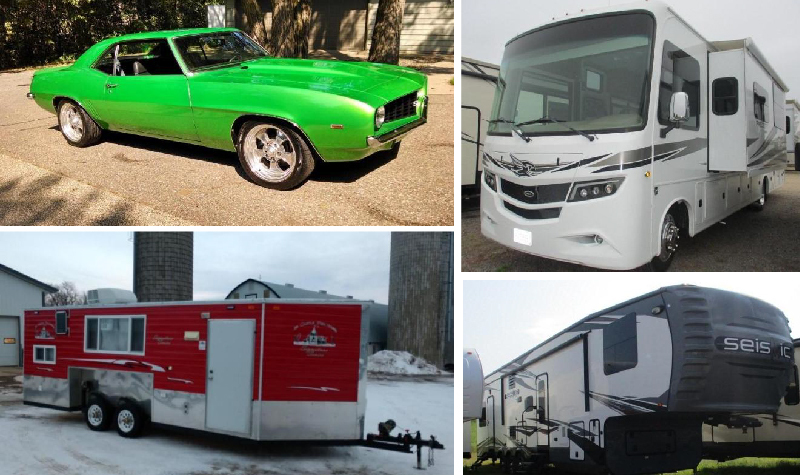 (17) Campers, (4) Motorhomes, 1969 Camaro SS Clone, 2015 Ice Castle, & (2) Trailers