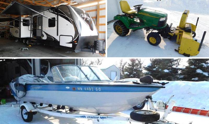 2017 Grand Design 29' Camper, 2005 Polaris Sportsman, John Deere X485 Lawnmower, Crestliner 17' Boat, Shop Tools & Estate Items