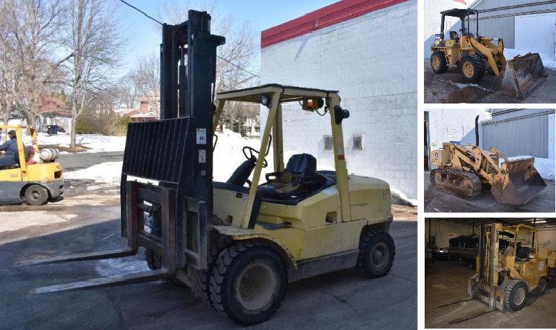 (6) Forklifts, Allis-Chalmers 655 Crawler Loader, Articulating Loader & Forklift Chargers