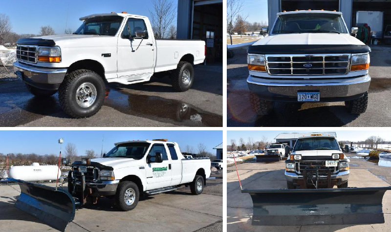 1997 Ford F-350 XL Long Box & 2003 Ford F-350 Super Duty Long Box With 9' Leo Plow