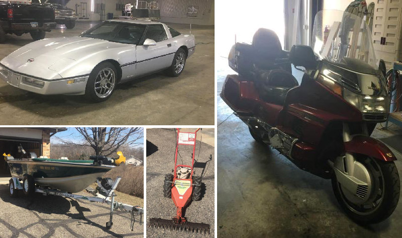 1986 Chevrolet Corvette, 1996 Honda GoldWing Interstate, 1989 Fishing Boat & Trailer, Sickle Mower