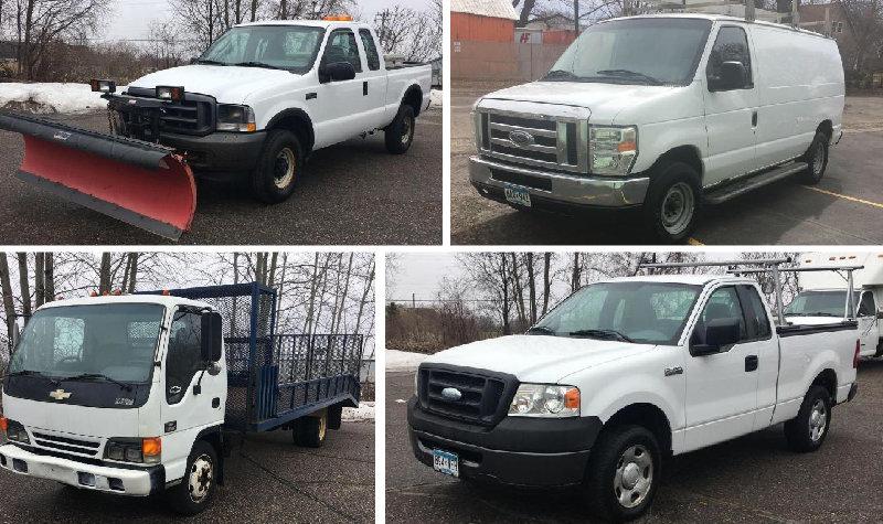 (2) Cargo Vans, Cub Van, Flatbed, Service Truck, Plow Truck and Pickups