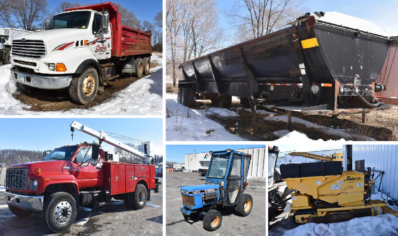 Paver, Dump Trucks, Service Trucks, Ford Tractor, Walking Floor Trailer and More