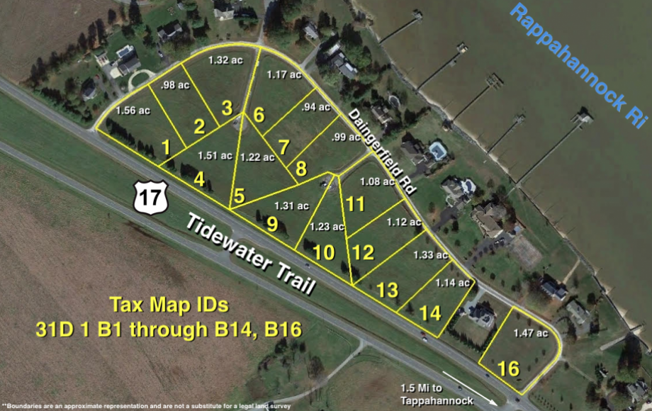 "15 RIVER VIEW BUILDING LOTS in DAINGERFIELD SUBDIVISION on ""THE GOLD COAST"" in TAPPAHANNOCK, VA"