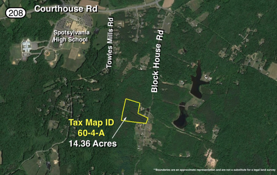 14.3 +/- ACRES of TIMBER LAND on BLOCK HOUSE RD. NEAR SPOTSYLVANIA HIGH SCHOOL