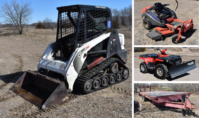 2011 Terex Skid Steer, Simplicity Zero Turn, Dirt Bike, Polaris 4-Wheeler, Shop Supplies, Amsoil Oil & More