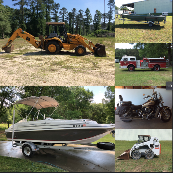Auction of Hurricane Sun Deck Boat, JCB Backhoe, Motorcycles, RV, Fire Truck, Cars and Much More
