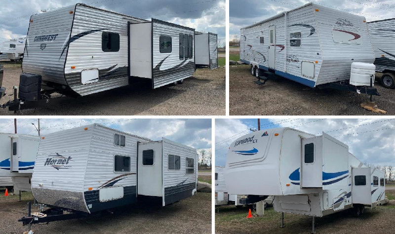 (9) Campers: (3) 5th Wheels and (6) Travel Trailers