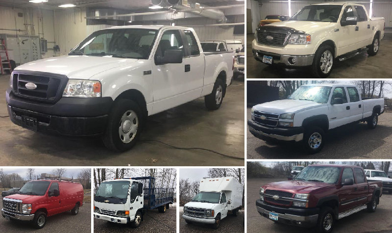 (5) Pickup Trucks, Cube Van, Cargo Van & Flatbed