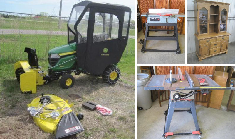Sauk Rapids Furniture, Lawn and Garden, Tools, Household & John Deere X310 Tractor