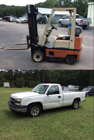 Nissan Forklift, Chevrolet Silverado and Office Furniture