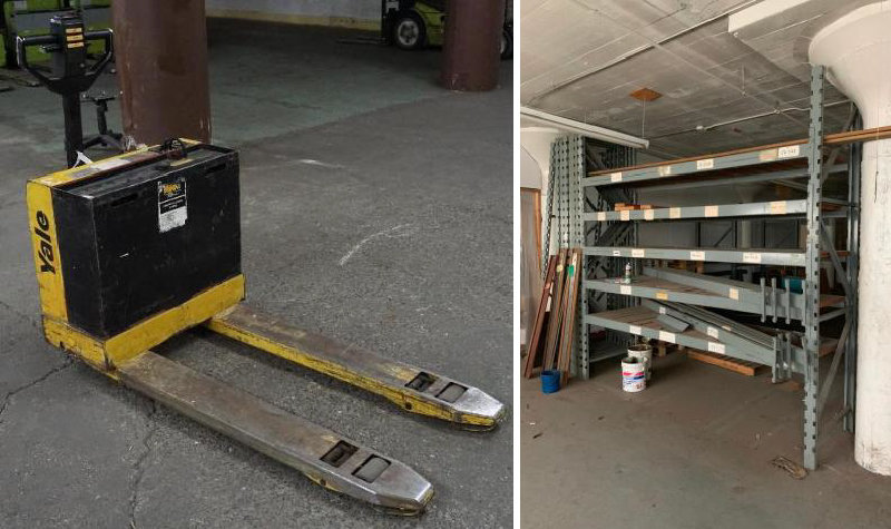 (8) Electric Pallet Jacks, Clark Forklift, Tennant Sweeper, and Pallet Racking