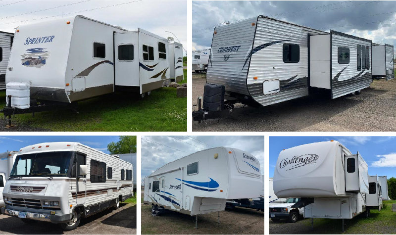 (14) Units: (6) 5th Wheels, (7) Travel Trailers and (1) Motorhome