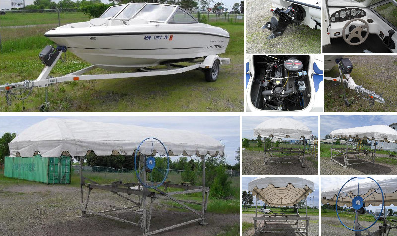 2004 Bayliner 17.5' Runabout 3.0 Mercruiser & Aluminum Boat Lift With Canopy