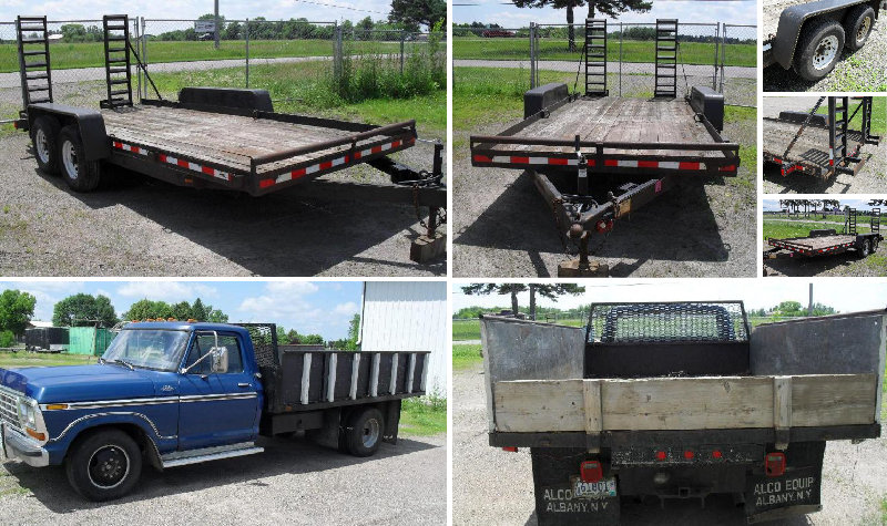 2006 DTC 16' Bobcat Trailer and 1974 Ford 1 Ton With Electric Hydraulic Dump Box