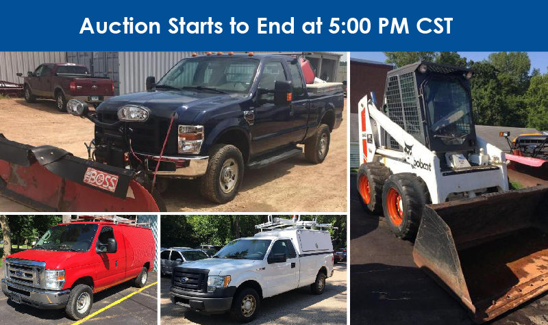 2009 Ford F-350 With Plow, 2011 Ford E-350 Cargo Van, 2010 Ford F-150 XL With Utility Topper & Bobcat 843