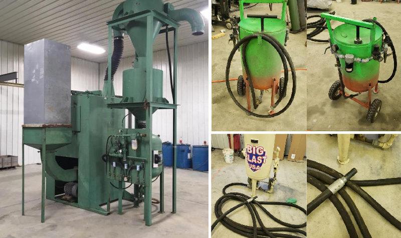 Abrasive Blast System Media Reclaimer and (2) Sandblasting Pots
