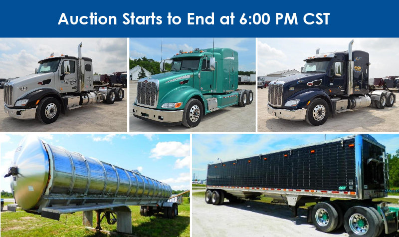 (6) 2010 Peterbilt, (2) 2017 Peterbilt, (1) 2012 Peterbilt, (2) 2016 Western Stars, (12) 2006-2015 Hopper Bottom Trailers, (1) Hu Van Curtain Side Trailer, (1) 1982 Walker Stainless Steel Trailer, (2) Van Trailers