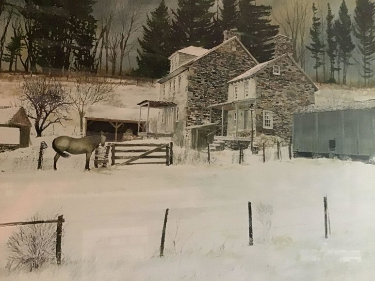 Alderfer Online - Sunrise Farm in Sellersville, PA | Household Items Including Henkel-Harris Dining Table, Step Back Cupboard, Taxidermy, Primitive Crocks & Tools, 1737 Cast Iron Stove Plate & More