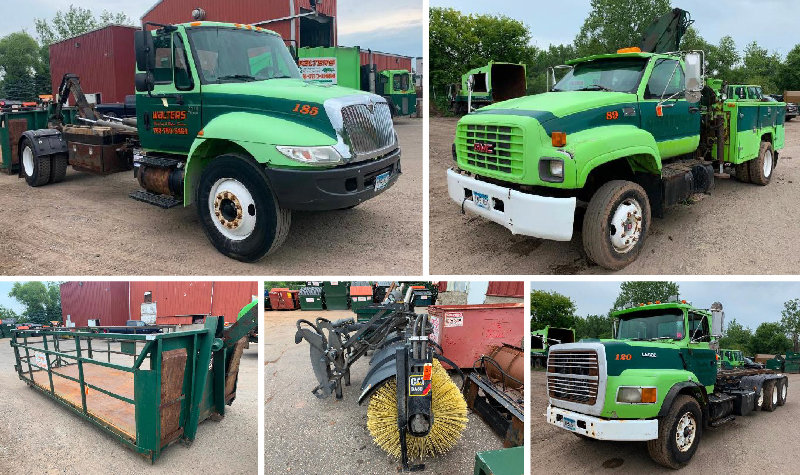 2006 International 4300 Hook Truck, Ford L9000 Cable Truck, GMC Topkick C6500, Cat BA30 Sweeper, Truck Parts & Accessories