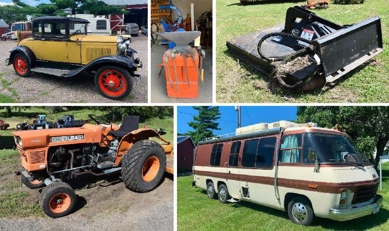 Estate: 1930 Model A, (2) Motorhomes, Farm Machinery, Blacksmith, Woodshop & Vintage