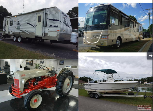 2007 Fleetwood RV, 2002 Sea Pro Boat, Ford 8N-B Tractor, Puma Camper, Firetruck, Vehicles, Tugger, Honda Motorcycle, Tools and Much More
