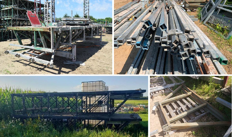 (8) Hydro Mobile Scaffolding Units, Hydro Mobile Accessories & Cat GLP40 Forklift