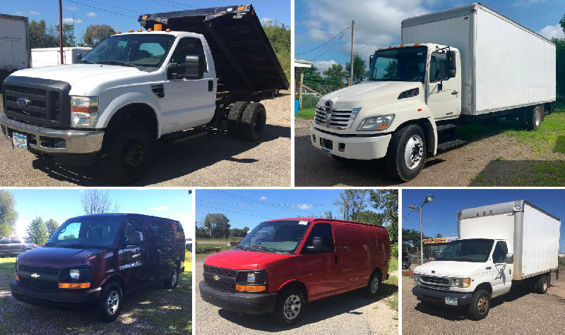(4) Cube Trucks, (2) Express Vans & 2010 Ford F350 XL Flatbed With Hoist