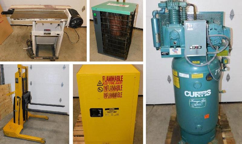 7.5 HP Curtis Air Compressor, Dayton Air Dryer, Big Boy 80 Belt Edge Sander, Big Joe Electric Lift, Uline Flammable Storage Cabinet, No Reserves