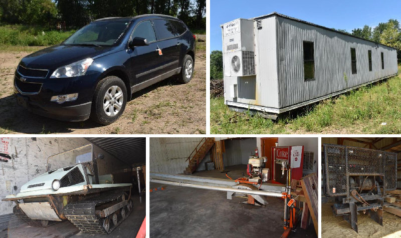 Impound Vehicles, Office Trailer, Saw Mill, Headache Racks, Stone & More
