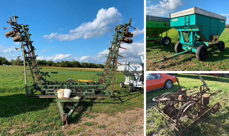 Farm Machinery: (12) Gravity Boxes, Cat Dozer, Cattle Trailer, Vintage Tractor & Attachments